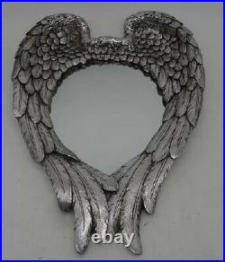 Large 57cm Vintage Antique Style Wall Mirror Heart Shape Angel Wings Silver