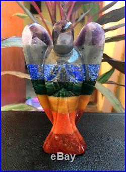 Large 5.5 Natural Seven Chakra Crystal Angel Figurine Healing Reiki Energy Wing