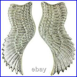 Large Aluminium Wall Hung Pair of Angel Wings in Silver Home Ornament