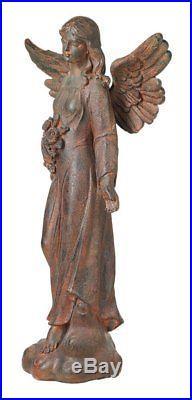 Large Angel Statue Figurine Garden Sculpture English Tudor Style Flowers Wings\