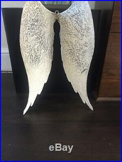 Large Angel Wings (metal) Shabby Chic Wall Art Cream Grey Brand New