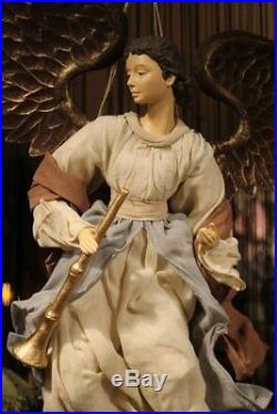 Large Angel with Trumpet Hand Painted Clothing Fabric Wings Gold Metal Approx