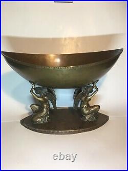 Large Antique Art Nouveau Ornate Brass Pedestal Bowl on Kneeling Winged Angels