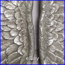 Large Antique Silver Angel Wings Decorative Wall Mounted Hanging Cherub Art Gift