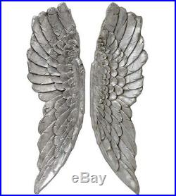 Large Antique Silver Angel Wings Wall Art
