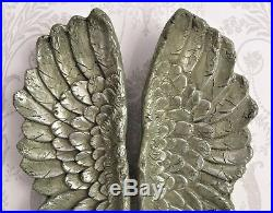 Large Antique Silver Angel Wings Wall Mounted Art Cherub Decor Hanging Home