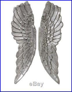 Large Antique Silver Wall Mounted Angel Wings Decorative Hanging Cherub Art Gift