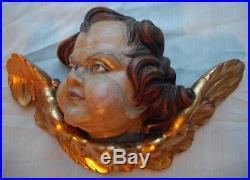 Large Antique Vintage Wooden Angel Putti Winged Cherub Religious Santos Wood