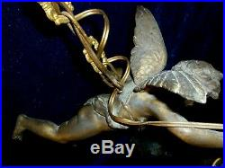 Large French Antique Gilded Timeworn Chandelier Winged Angel Cherub with2 Shades