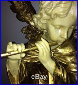 Large Gold Golden Angel Wings Flute Statue 34 & Pedestal 27 Overall 61 Tall