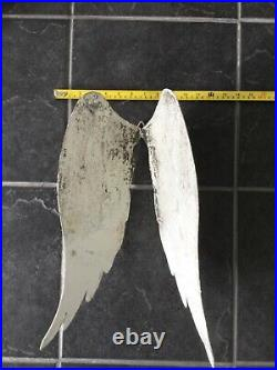 Large Metal Angel Wings Wall Decor Distressed in White Grey Christmas