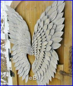 Large Metal Vintage Patina Angel Wings Pair Wall Decor Christmas 40 inches New