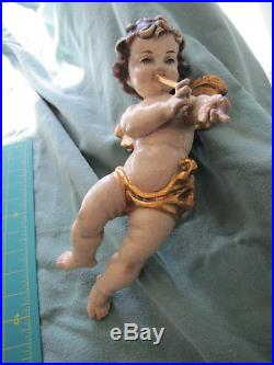 Large Painted Carved Wooden Wall Hanging Winged Cherub / Angel 12 Tall