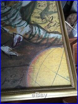 Large Painting By Jaff Siejas, Gouache & Oil On Paper, Hanael Angel Wings