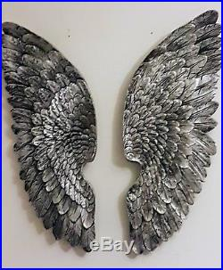 Large Pair Angel Wings Wall Art Feather Design Antique Silver Colour