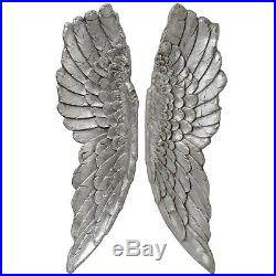 Large Pair Stone Effect Antiqued Silver Angel Wings Wall Hanging 104cm