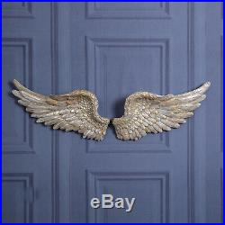 Large Pair of Angel Wings Silver Ornate Vintage Shabby Cherub Wall Decoration