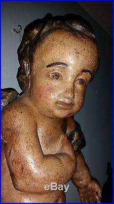 Large Pair of Antique Wood Carved Winged Cherubs Angels 1 19 2 21