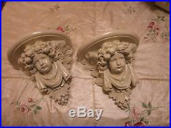 Large Pair of Winged Angel Cherub Wall Sconce Corbel Shelves
