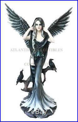 Large Raven Fey Dark Transformation Fairy With Angelic Crow Wings Statue Decor