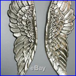 Large Silver Distressed Rustic Wall Mountable Angel Wings Bedroom Living Room