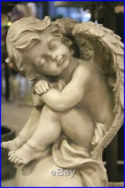 Large Sleeping Angel on A Ball Sitting Wings Baroque Grey 54 CM New
