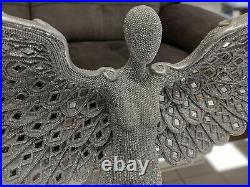 Large Spread Angel Wings Studded Stud Silver Mosaic Ornament Figurine Modern