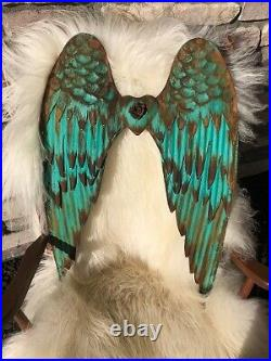 Large Turquoise & Rust Angel Wings wall decor
