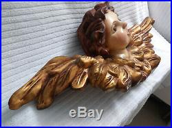 Large Vintage Angel/Cherub Head with Golden Wings Carved Wood and Plaster 3D Art