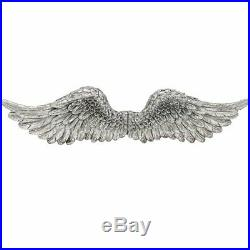 Large Wall Mounted Angel Wings 82cm Antique Silver Wall Hanging Home Deco
