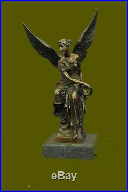 Large Winged Victory Angel Leader Warrior Pure Bronze Copper Art Sculpture Gift