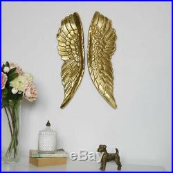 Large gold angel wings wall art display metallica painted metal gift living room