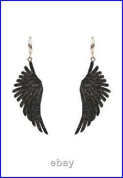 Latelita Earrings Angel Wings Feather Pink Rose Gold Black Large Drop Dangle CZ