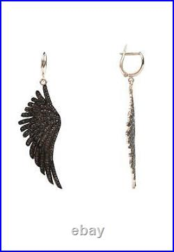 Latelita Earrings Angel Wings Feather Pink Rose Gold Brown Large Drop Dangle CZ