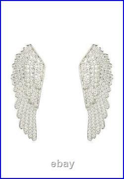 Latelita Large Angel Wing Feather Stud Earrings 925 Sterling Silver CZ Zirconia