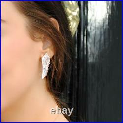 Latelita Large Angel Wing Feather Stud Earrings Gold Sterling Silver CZ Zirconia