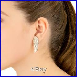 Latelita Large Angel Wing Feather Stud Earrings Rose Gold Sterling Silver CZ