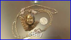 Lrg Vintage Sterling Silver 3D Winged Angel Pendant & 34 Figaro Sterling Chain