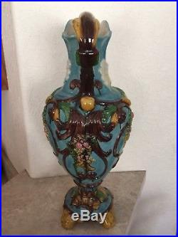MINTON MAJOLICA LARGE EWER JUG PITCHER ANGEL FACE With WINGS
