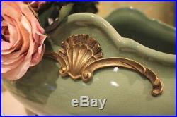 Magnificent Large Bowl Angel Wings Baroque Antique Porcelain Bronze 54cm