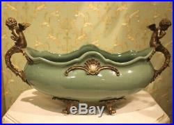 Magnificent Large Bowl Angel Wings Baroque Antique Style Porcelain Bronze 54cm