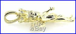 Men 925 Sterling Silver Bling Large Angel Wing Gold Charm Pendant Yellow Gold