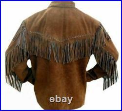 Men Native American Cowboy Western Suede Leather Jacket Coat Fringes Bones Beads