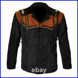 Men's Traditional Cowboy Western Wear Leather Jacket Coat With Fringe Bone Beads