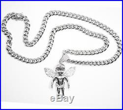 Miami Cuban Chain 9mm 30 in & Large Angel Wing Pendant Solid 925 Sterling Silver