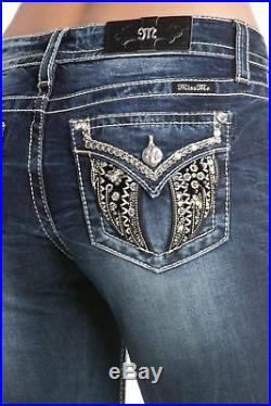 Miss Me Women's Black and Gold Angel Wings Embellished Skinny Jeans Denim Bl