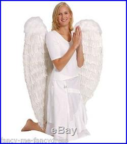 NEW Ladies Extra Large White Feather Angel Fairy Wings Fancy Dress Costume 120cm