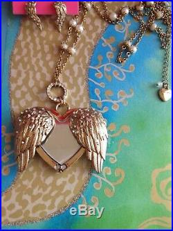 NWOT Betsey Johnson Fly With Me Large Gold Angel Wing Crystal Heart Set