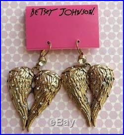 NWT Betsey Johnson Vinatge Fly With Me Large Gold Angel Wing Crystal Earrings