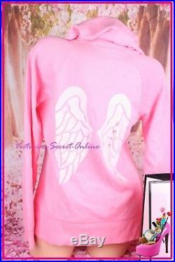 NWT Victoria's Secret Hoodie Sweatshirt Angel Wings Bling Sequin Logo Zip Pink L